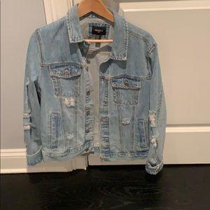 Forever 21 men denim jacket with rips